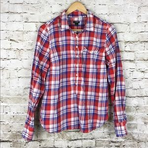 J. Crew plaid popover shirt